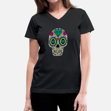 Abstract Sugar Skull Day of The Dead  - Women's V-Neck T-Shirt