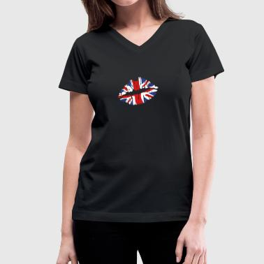 England flag lips - Women's V-Neck T-Shirt
