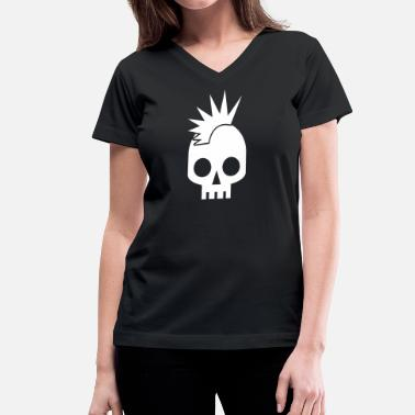 """loose Cannon"" cool skull shape skulls emo with mowhawk - Women's V-Neck T-Shirt"