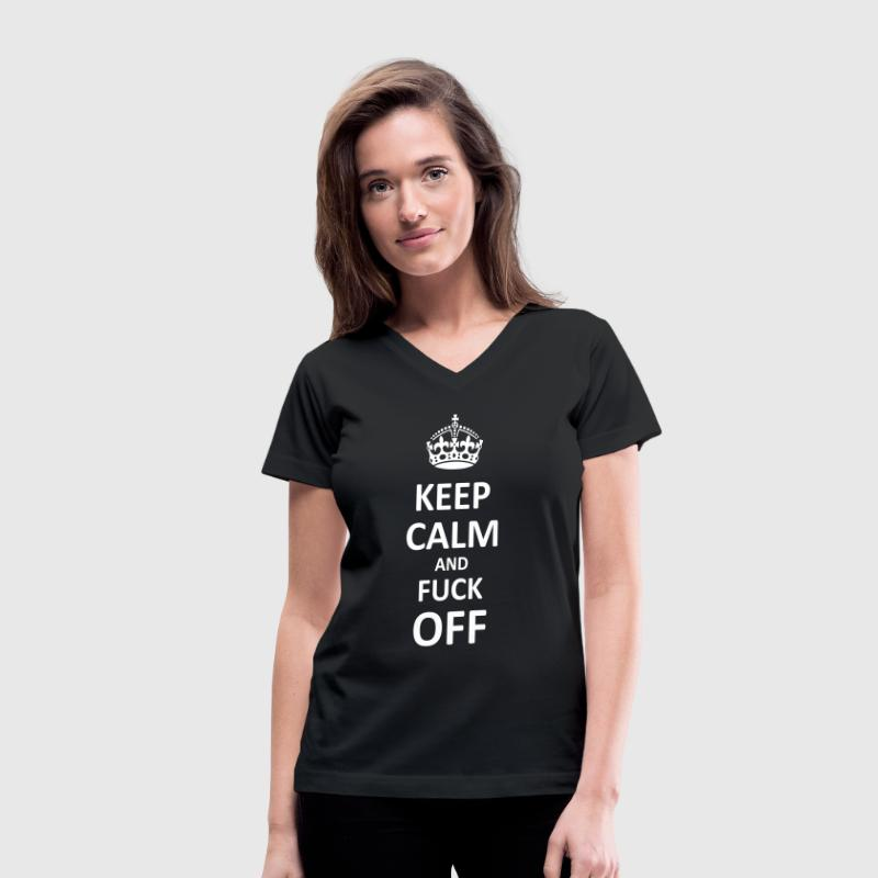 Keep Calm and Fuck Off (Black) - Women's V-Neck T-Shirt