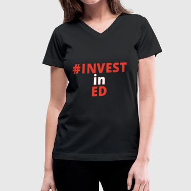 INVESTinED vertical - Women's V-Neck T-Shirt