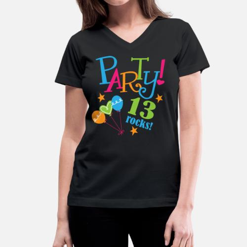 13th Birthday Party Girls Womens V Neck T Shirt