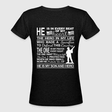 American Military Male Soldier Mom's Pride White.p - Women's V-Neck T-Shirt