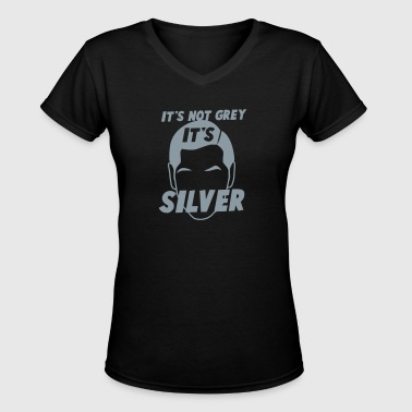 It's not GREY- it's SILVER greying haired man - Women's V-Neck T-Shirt