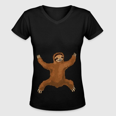 Sloth Love Hug - Women's V-Neck T-Shirt