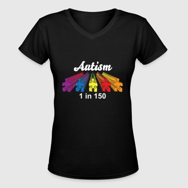 Autism Puzzle Pieces Rows - Women's V-Neck T-Shirt