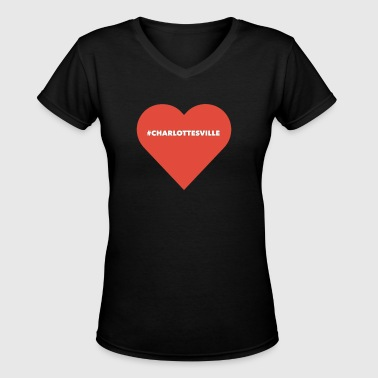 charlottesville in a heart - Women's V-Neck T-Shirt