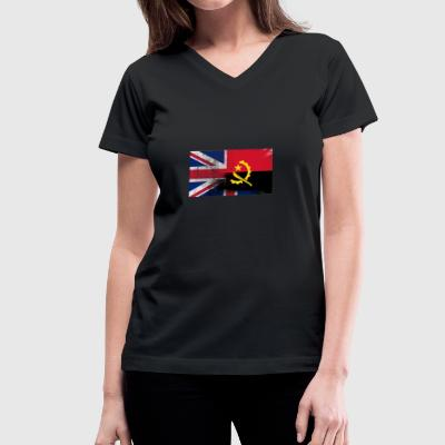 British Angolan Half Angola Half UK Flag - Women's V-Neck T-Shirt