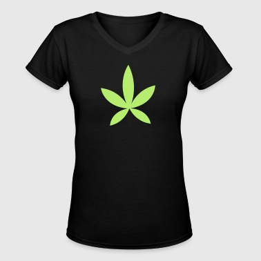 weed pot hash leaf grass simple shape - Women's V-Neck T-Shirt