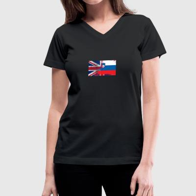 British Slovenian Half Slovenia Half UK Flag - Women's V-Neck T-Shirt