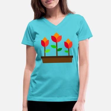 Botanical flowers illustration - Women's V-Neck T-Shirt