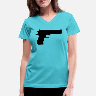 Guns Vector Vector Gun Silhouette - Women's V-Neck T-Shirt