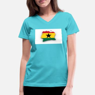 Flag Ghana flag of ghana - Women's V-Neck T-Shirt