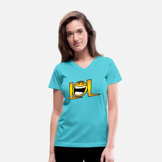 Awesome T-Shirts - LOL - Women's V-Neck T-Shirt aqua