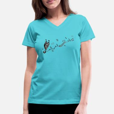 Music Note Ekg Heartbeat with winged Music Note and hearts. - Women's V-Neck T-Shirt