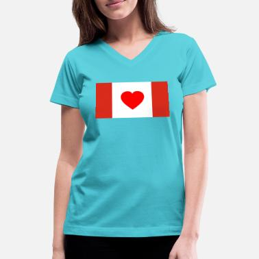 Canada Flag Canada Flag - I Love Canada - Women's V-Neck T-Shirt