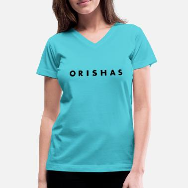 Yemanja Orishas (Slim Black Letters) - Women's V-Neck T-Shirt