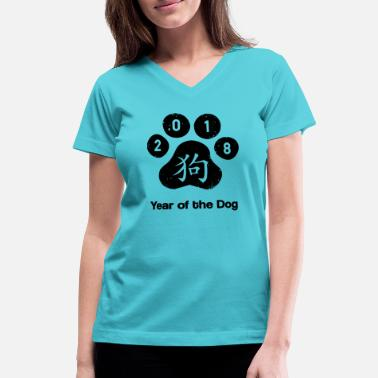 Year-of-the-dog year of the dog - Women's V-Neck T-Shirt