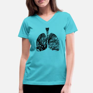Lunges lungs - Women's V-Neck T-Shirt