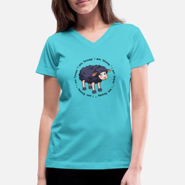 Black Sheep White Black Sheep i am a sheep i am a black sheep gift - Women's V-Neck T-Shirt