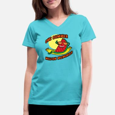 80s Beach Art ONE SUMMER - Women's V-Neck T-Shirt