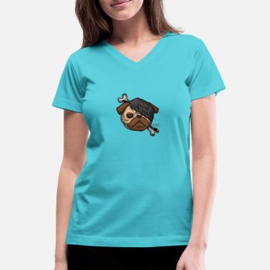 EmoPug - Women's V-Neck T-Shirt