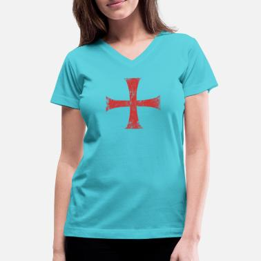 Templar Knights Distressed Crusader Knights Templar Cross - Women's V-Neck T-Shirt