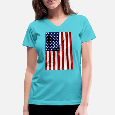 Vertical Usa Flags American USA Flag Vertical - Women's V-Neck T-Shirt
