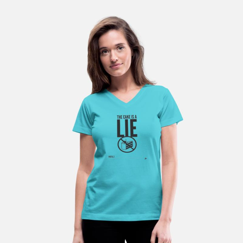 Glados T-Shirts - Warning: the cake is a lie - Women's V-Neck T-Shirt aqua