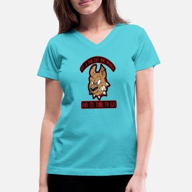 Dog Eating Dog Eat Dog World Logo - Women's V-Neck T-Shirt