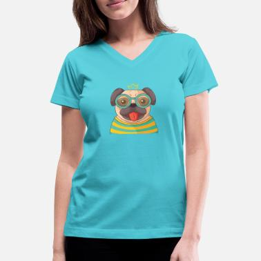 Pug Hand drawn pug with glasses - Women's V-Neck T-Shirt