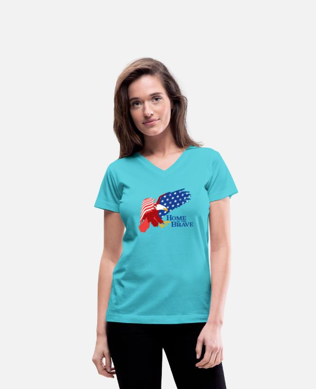 Design T-Shirts - Home of the Brave - Women's V-Neck T-Shirt aqua