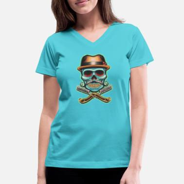 Barber Swag Barber Skull - Women's V-Neck T-Shirt