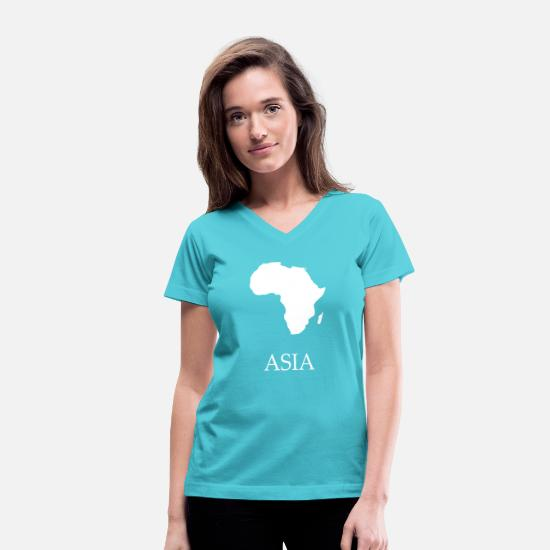 Africa T-Shirts - Funny Africa Shirt with Asia white - Women's V-Neck T-Shirt aqua