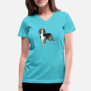 Beer-hound Finnish hound dog cartoon - Women's V-Neck T-Shirt