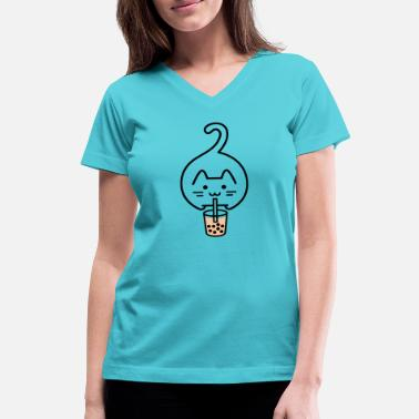 Milk Tea Milk Tea Cat Design - Women's V-Neck T-Shirt