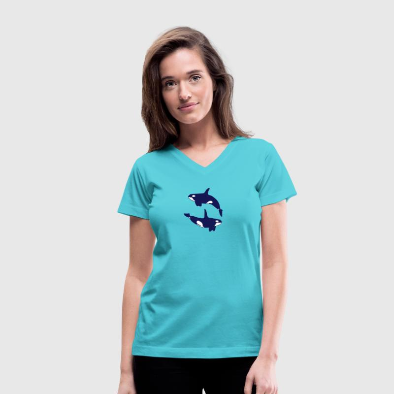 2 Orca - Women's V-Neck T-Shirt