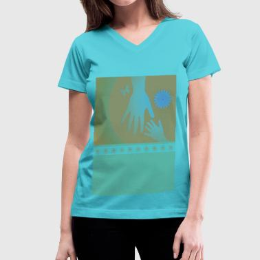 Babysitter Blue Tan Hands - Women's V-Neck T-Shirt
