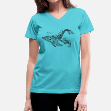 South Sea Islands Singing Whales South Seas - Women's V-Neck T-Shirt
