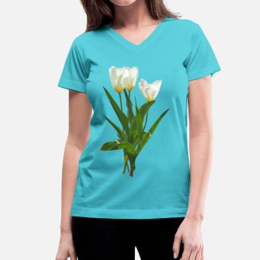 Tulips Backlit White Tulips - Women's V-Neck T-Shirt