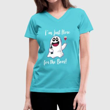 Halloween Martini I'm Just here for the Boos Wine Drinking Ghost - Women's V-Neck T-Shirt