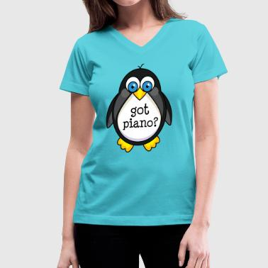 Cute Piano Music Penguin - Women's V-Neck T-Shirt
