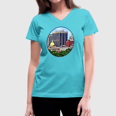 Boston MA - Skyline with Massachusetts State House - Women's V-Neck T-Shirt