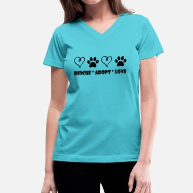 Animal Print Rescue, Adopt, Love - Women's V-Neck T-Shirt