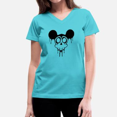 Mickey Mouse Hands Dead Mickey Mouse Halloween - Women's V-Neck T-Shirt