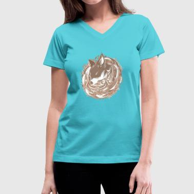 a fox at the Burrow - Women's V-Neck T-Shirt