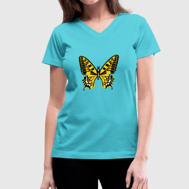 Yellow Butterfly Butterfly - Women's V-Neck T-Shirt