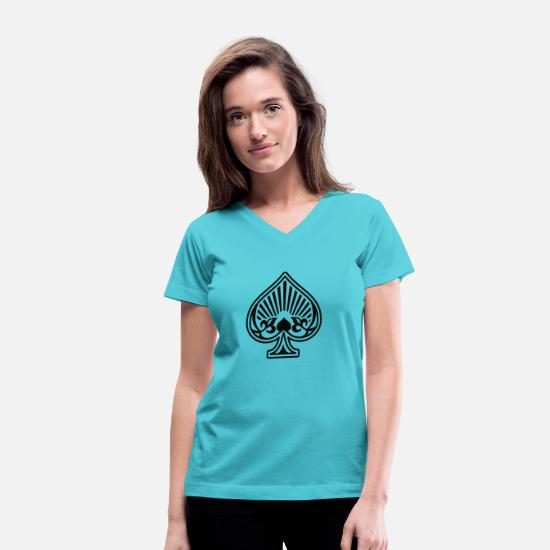 Spades T-Shirts - Ace of Spades  Playing - Women's V-Neck T-Shirt aqua