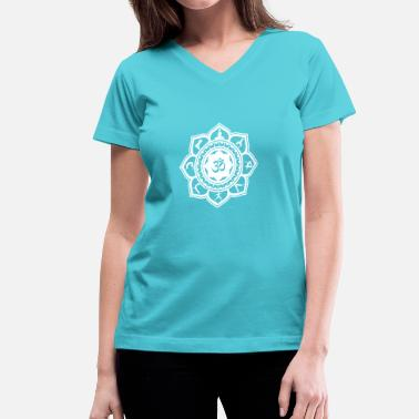 Design Your Own Flower Yoga Om Lotus Flower - Women's V-Neck T-Shirt