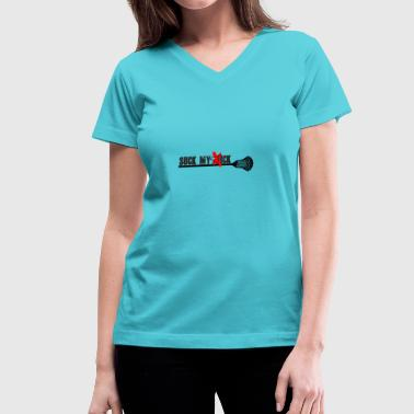 Lacrosse, suck my stick - Women's V-Neck T-Shirt